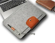 "Wool leather Laptop Notebook Sleeve case 2 For 13"" inch 13.3"" Apple MacBook Pro"
