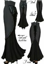 New Black Gothic Steam Punk Pinstripe Vintage Fishtail Skirt size 8 10 12