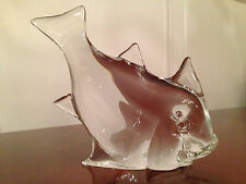 "Vintage Signed L. ZANETTI Solid Crystal Glass 8.5"" FISH FIGURINE Murano Italy"