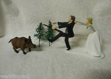 Wedding Party Reception ~Hog Hunter~ Cake Topper Running Redneck Hunting Groom