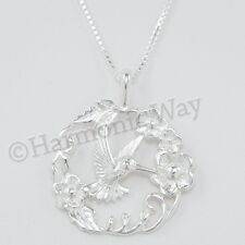 "Beautiful HUMMINGBIRD FLOWER Bird charm Pendant 18"" Necklace 925 Sterling Silver"