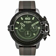 Diesel Authentic Watch DZ4407 Deadeye Green Dial Brown Leather Strap 51mm Chrono