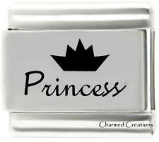 Princess 9mm Italian Charm Laser Etched Stainless Steel Modular Link Tiara Crown