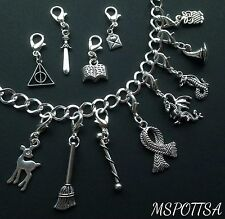 12 Harry Potter Charm Bracelet Clip Ons Charm Zipper Pull Silver Deathly Hallows