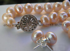 """New 8-9mm Cultured Akoya Pearl Set necklace  White Gold earring 18"""""""
