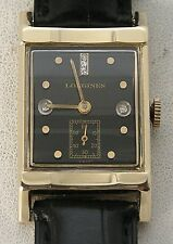 Awesome 1950's 14K Gold Longines Deco Rectangle Black Diamond Dial Men's Watch