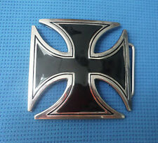GOTHIC BLACK IRON CROSS GERMANY MEDAL DESIGN BIKER BELT BUCKLE