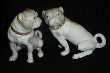 Vintage Porcelain Pair Bulldogs or Pugs signed Museo First Edition Seymour Mann