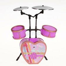 Cool Shocking Pink Drum Set Musical Instruments For Barbie Doll NEW