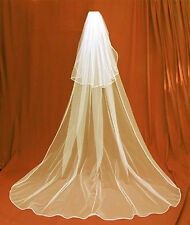 6v Romantic Long IVORY Cathedral length Bridal Wedding Veil with Blusher