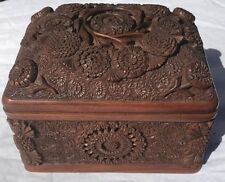 German Antique Black Forest Wood Box Hand Carved. Ornate for Cigar, Apothecary
