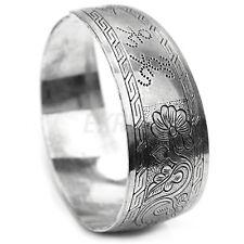 Bracciali Argento Tibetano Braccialetto Scolpito Motivo Tibetan Tono Argento