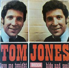 "VINTAGE 1969 TOM JONES 45 RPM VINYL ""LOVE ME TONIGHT/ HIDE AND SEEK"""