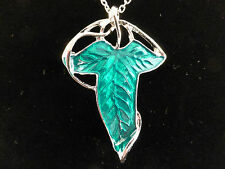 Large Enamelled Green Leaf Elven Style 2 in 1 Necklace / Brooch + Free Gift Bag