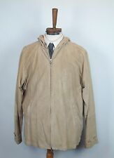 Ralph Lauren Purple Label Beige Suede Leather Zip-Up Hooded Jacket Large