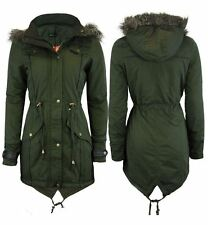 Ladies Fishtail Parka Mod Retro Faux Fur Hooded Jacket Womens Coat