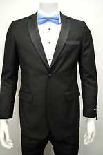 Men's Black Slim-fit 2 Button Tuxedo w/ Satin Lapel & Trim SIZE 34S NEW