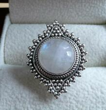 925 STERLING SILVER ETHNIC BALI STYLE CABOCHON MOONSTONE WOMENS RING SZ P US 8