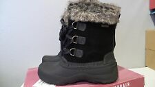 NEW  KHOMBU SLOPE WINTER BOOTS BLACK LEATHER WOMEN'S SIZE 7 LEATHER WATERPROOF