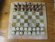 "CHESS SET # 9 HAND CARVED PAKISTAN ONYX 3"" PIECES 15"" ONYX BOARD"