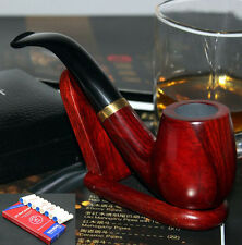 Old Rosewood Wood Handmade Tobacco Smoking Pipe &Pouch &Stand &10 Filters #6531
