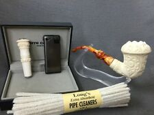 Floral Calabash PIPE-BLOCK MEERSCHAUM-NEW- W Case Tamper-Stand-Lighter-pipe clea