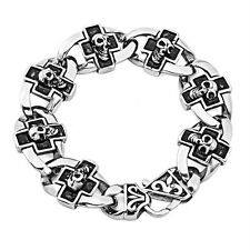 Men Rocker Biker Gothic SKULL CROSS 316L Stainless Steel Bracelet 8.5 inches