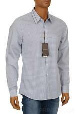 NEW GUCCI WEB DETAIL COLLAR STRETCH CHECK COTTON CASUAL DRESS SHIRT 42/16.5