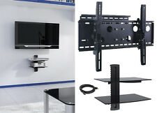 "New TV Wall Mount with Double Glass Shelf Unit Supports Screen Sizes 30"" to 85"""