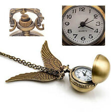 Antique HarryPotter Pocket Watch Snitch Steampunk Quidditch Wings Necklace Clock