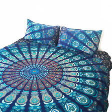 QUEEN Size Quilt Cover Mandala Duvet Cotton Doona Blue Peacock