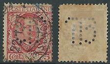 1926 REGNO USATO FLOREALE 75 CENT PERFIN  - S201-2