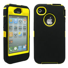 New Black & Yellow Three Layer Silicone PC Case Cover for iPhone 4 4G 4S