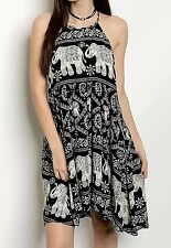 NWT Elephant Print Babydoll Halter Swing Dress black white drapy rayon hi lo S