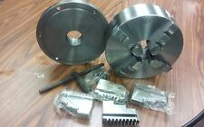 """10"""" 4-JAW SELF-CENTERING  LATHE CHUCK w. 2-1/4""""-8 adaptor plate, extra jaws"""