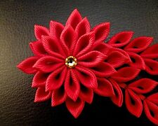 Classic red kanzashi hair clip flower with citrine Swarovsky, leaf and bells