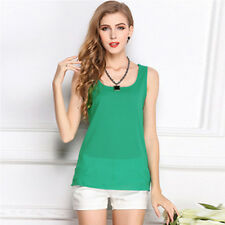 Ladies Casual Lace Tank Tops Short Sleeveless T-shirt Vest Summer Blouse Chiffon