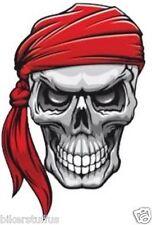 SKULL WITH RED BANDANA HELMET STICKER HARD HAT STICKER iPHONE STICKER