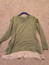A261101 LOGO Lounge by Lori Goldstein French Terry Top with Challis Hem- XSmall