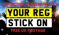CAR TRUCK TRAILER LORRY REFLECTIVE STICK ON NUMBER PLATES REAR OR FRONT UK SIZE