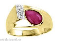 Mens Diamond & Star Ruby Ring 14K Yellow Gold