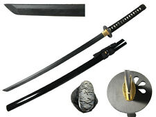 Wooden Japanese Samurai Katana Sword Waster Black Blade Anime Cosplay Costume