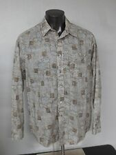 Tommy Bahama Indigo Palms XL Cotton Button Shirt Long Sleeve Geometric Floral