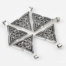 2pcs Tibet Silver Triangle Cross Carved Necklace Charm Bracelet Pendant 28*24cm