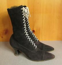 "Vintage Antique Utz & Dunn Victorian Lace-up Boots 9 1/2"" Length 1900s Shoes"
