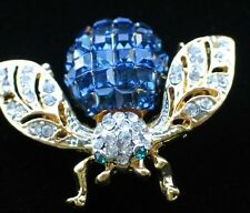 GOLD TONE BLUE CLEAR RHINESTONE BUG INSECT FLYING BUMBLE BEE PIN BROOCH 1 1/2""