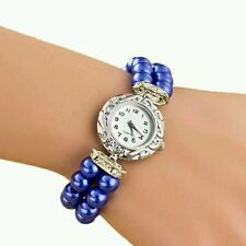 Blue Case Pearl Elastic Band Women Watch Leather Band Analog Quartz Dial Wrist