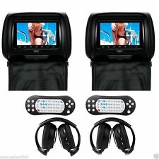 "7"" Black Car Headrest Monitors w/DVD/USB/SD Player+Game  IR Headphones SR_75"