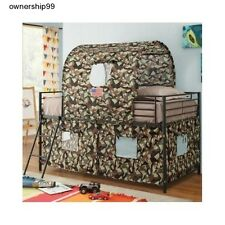 Boys Twin Loft Bed Camouflage Army Fort Tent Bunk Beds Kids Bedroom Furniture