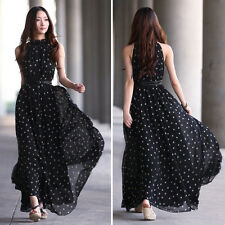 Women Loose Sexy Chiffon Polka Dots Maxi Long Beach Party Evening Dress Black BA